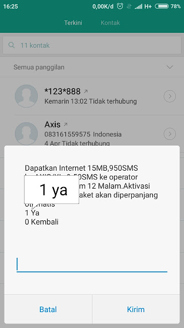 Cara Beli Paket Sms Axis Rp 1500 Dapat 950 SMS