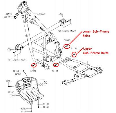 KamoKLR: KLR650 Sub-Frame Bolts