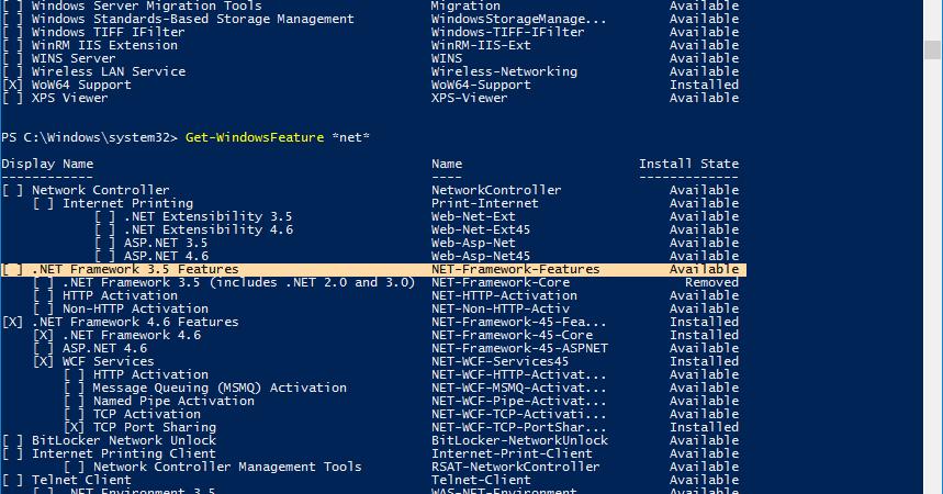 Powershell: Install Windows Feature -  NET Framework 3 5
