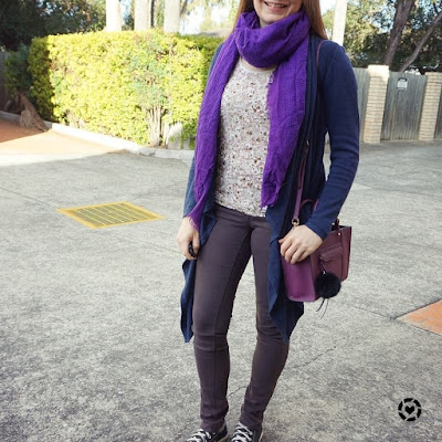 awayfromblue instagram purple toned layered floral tank outfit with navy cardi