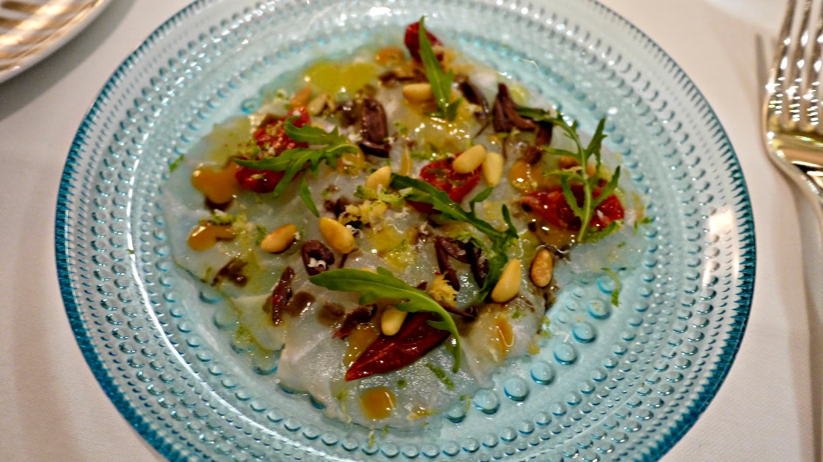 Alain Ducasse Rivea London Sea Bass Carpaccio