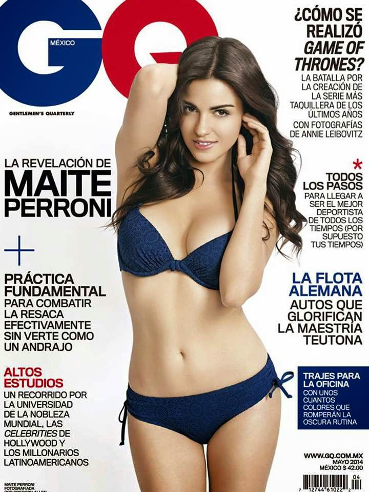 Maite Perroni covers GQ Mexico in a blue bikini