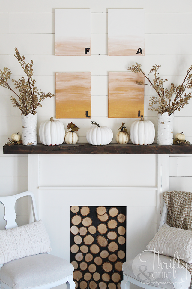 DIY ombre Fall wall art. DIY Fall decor and decorating ideas. DIY Fall or Halloween crafts