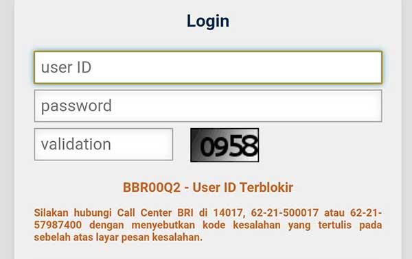 Penyebab BBR00Q2 User ID Terblokir BRI Internet Banking