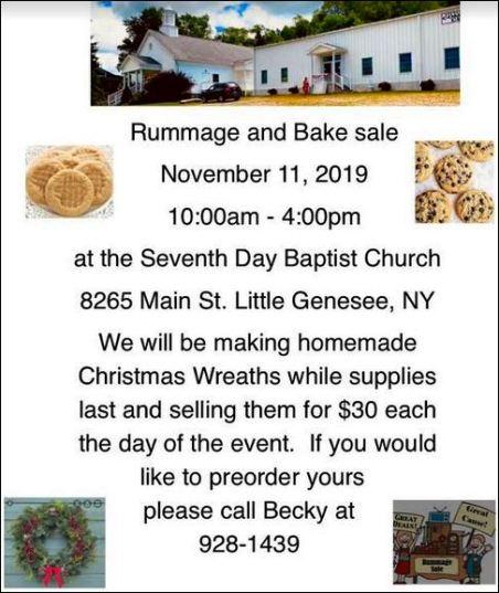 11-11 Rummage & Bake Sale, Little Genesee, NY