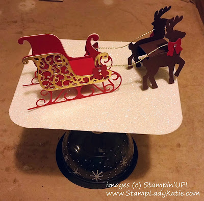 Christmas Centerpiece made from Stampin'UP!'s Santa's Sleigh Thinlets and Chalk Marker on a Wine Glass