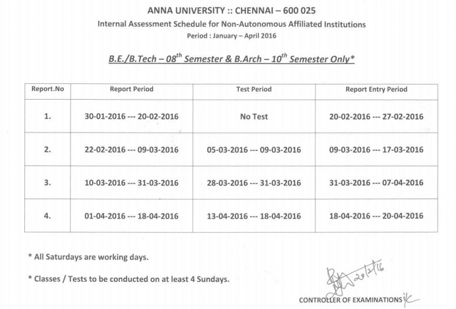 Anna University Internal Assessment Schedule January April 2016