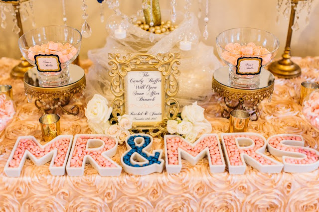 mr and mrs dessert and candy table