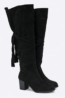 Cizme negre inalte de iarna cu toc gros , din piele eco intoarsa la reducere
