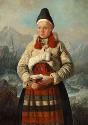 Johan Fredrik Höckert : Fille suédoise en costume traditionnel peintre romantique suédois