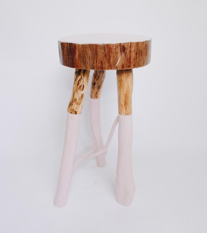 pink scandi stool
