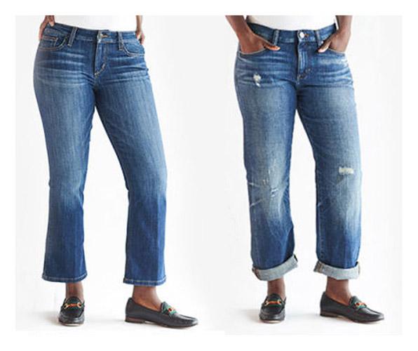 Потертости спереди на джинсах на полной женщине