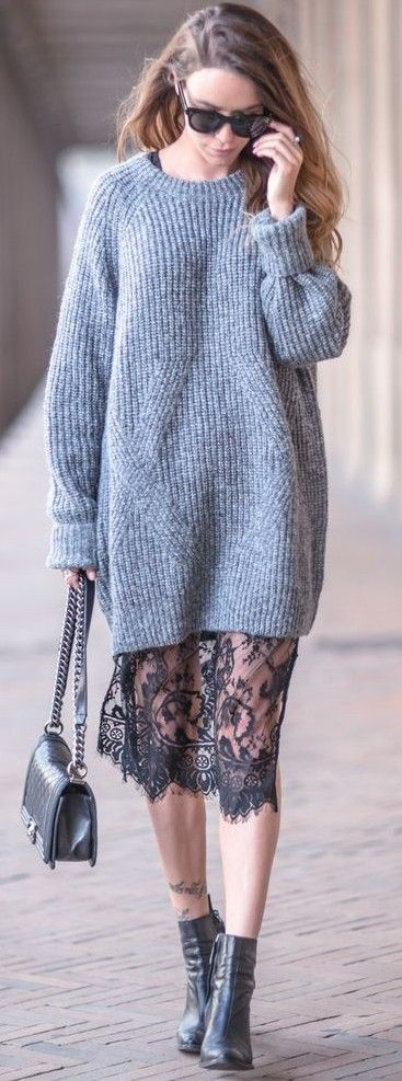 fall outfit : sweater dress + bag + lacer skirt + boots