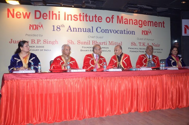 Prof Teena Singh, Registrar, NDIM ; Shri T. K. A. Nair, Principal Secretary, and Advisor to Former Prime Minister of India. Enterprise,Shri Sunil Mittal , founder and CEO ,Bharati Enterprises; Shri V M Bansal , chairman , NDIM; Shri B. P. Singh , Justice B P Singh, former Judge Supreme Court & Ex-Chief Justice Bombay High Court;  former Chief Election Commissioner, Government of India  and Dr. Gauri Modwel, Dean , NDIM