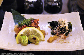 Left: Chicken Thigh with Moromiso and Shiso Leaf; Right: Seaweed, Bonito Flakes, Chicken Skin, and Shungiku Leaf at Torishin