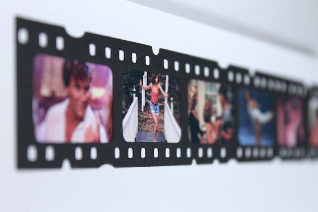Página dedicada a Dirty Dancing realizada con el troquel Filmstrip de Tim Holtz. Scrapbook