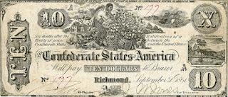 عملة ورقية من فئة 10 دولارات تعود لعام 1862 تتضمن صورة رجل أفريقي يجمع محصول القطن.