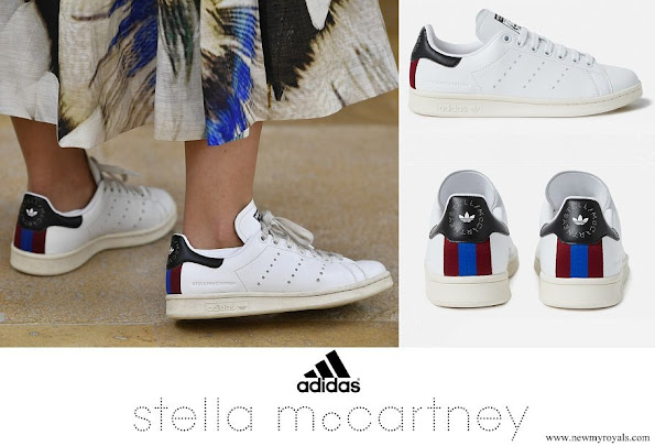 Crown Princess Victoria wore Stella McCartney + adidas Stan Smith grosgrain-trimmed faux leather sneakers