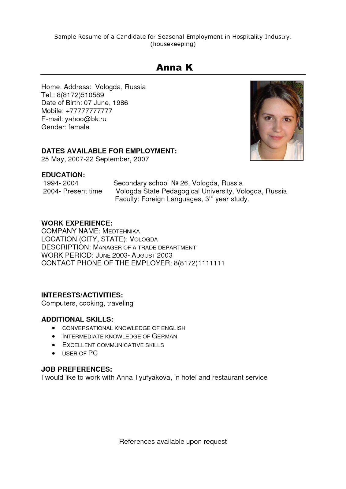 examples of resumes resume examples basic resume example resume - How To Get A Housekeeping Job