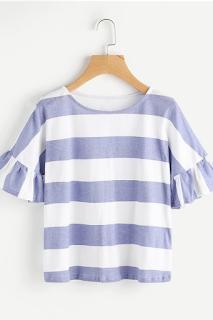 Tee-shirt contrasté à rayures avec des plis - SHEIN