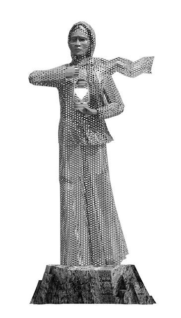 Mẫu tượng Bà mẹ thắp lửa mô hình thép rỗng (vẽ 3D)