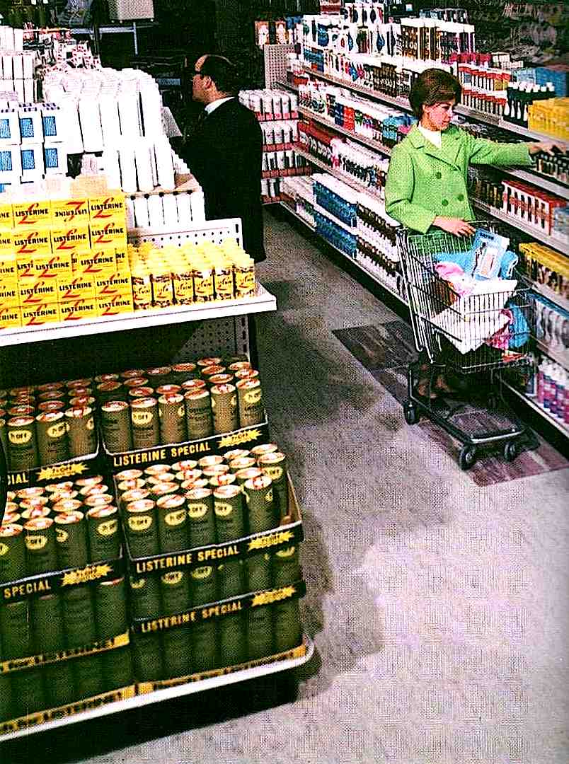 a 1968 supermarket, color photograph of shoppers in aisles
