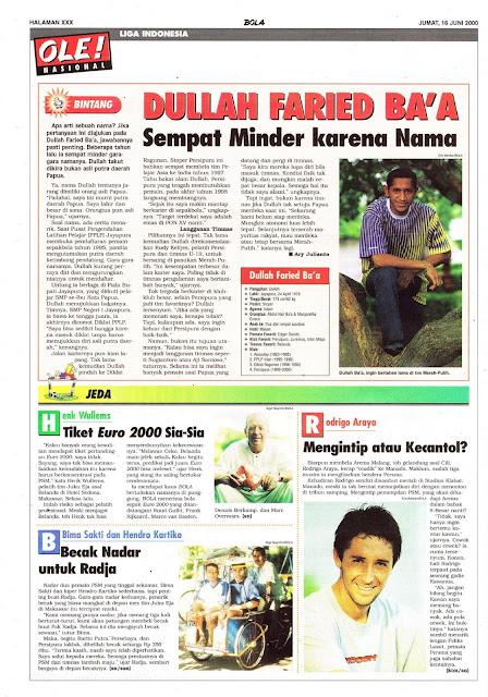 LIGA INDONESIA PROFIL BINTANG DULLAH FARIED BA'A