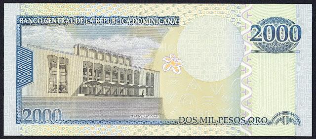 Dominican Republic money 2000 Pesos Oro banknote 2009 Teatro Nacional Eduardo Brito