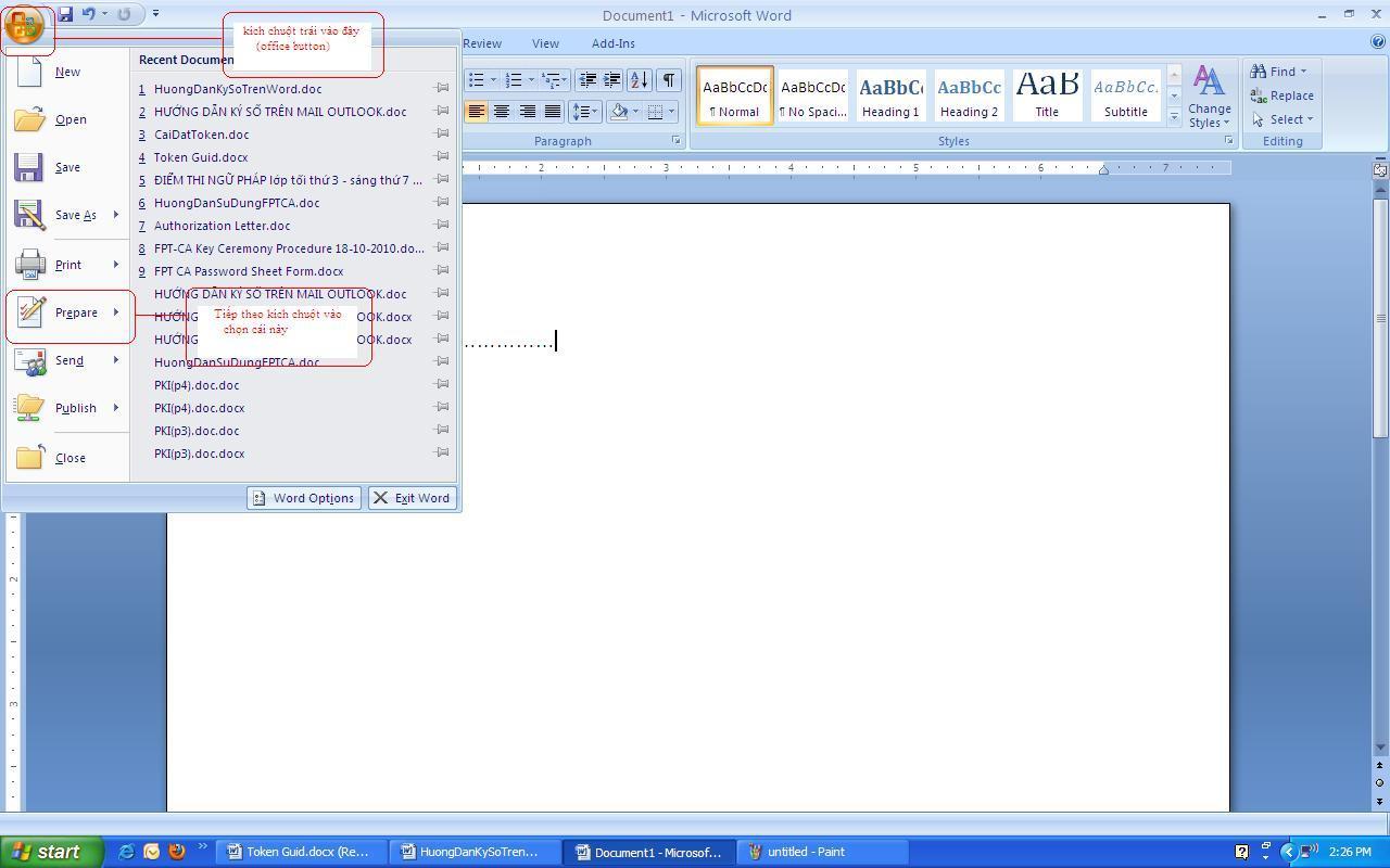 Hướng dẫn sử dụng chữ ký số trên Microsoft Office 2007