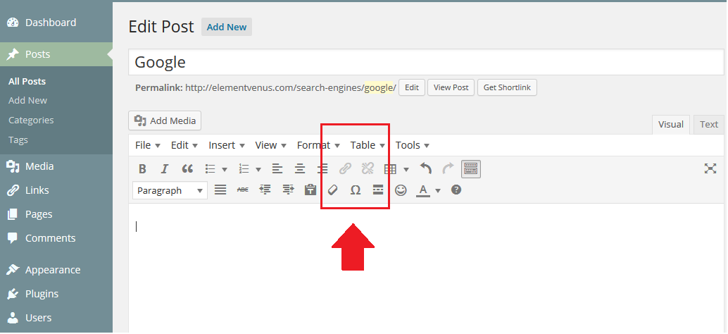 Insert Link in Wordpress Post