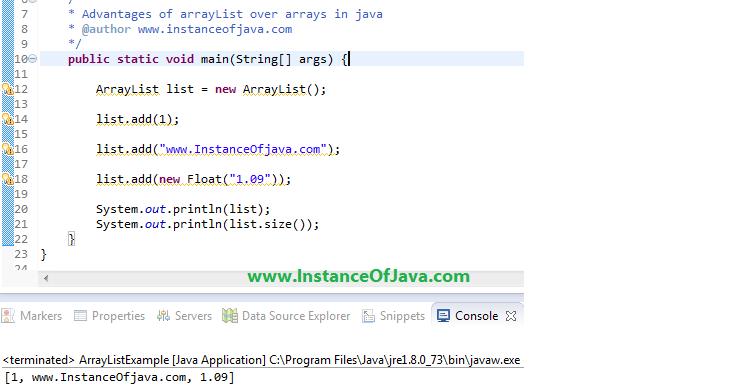 Benefits of arraylist in java over arrays - InstanceOfJava