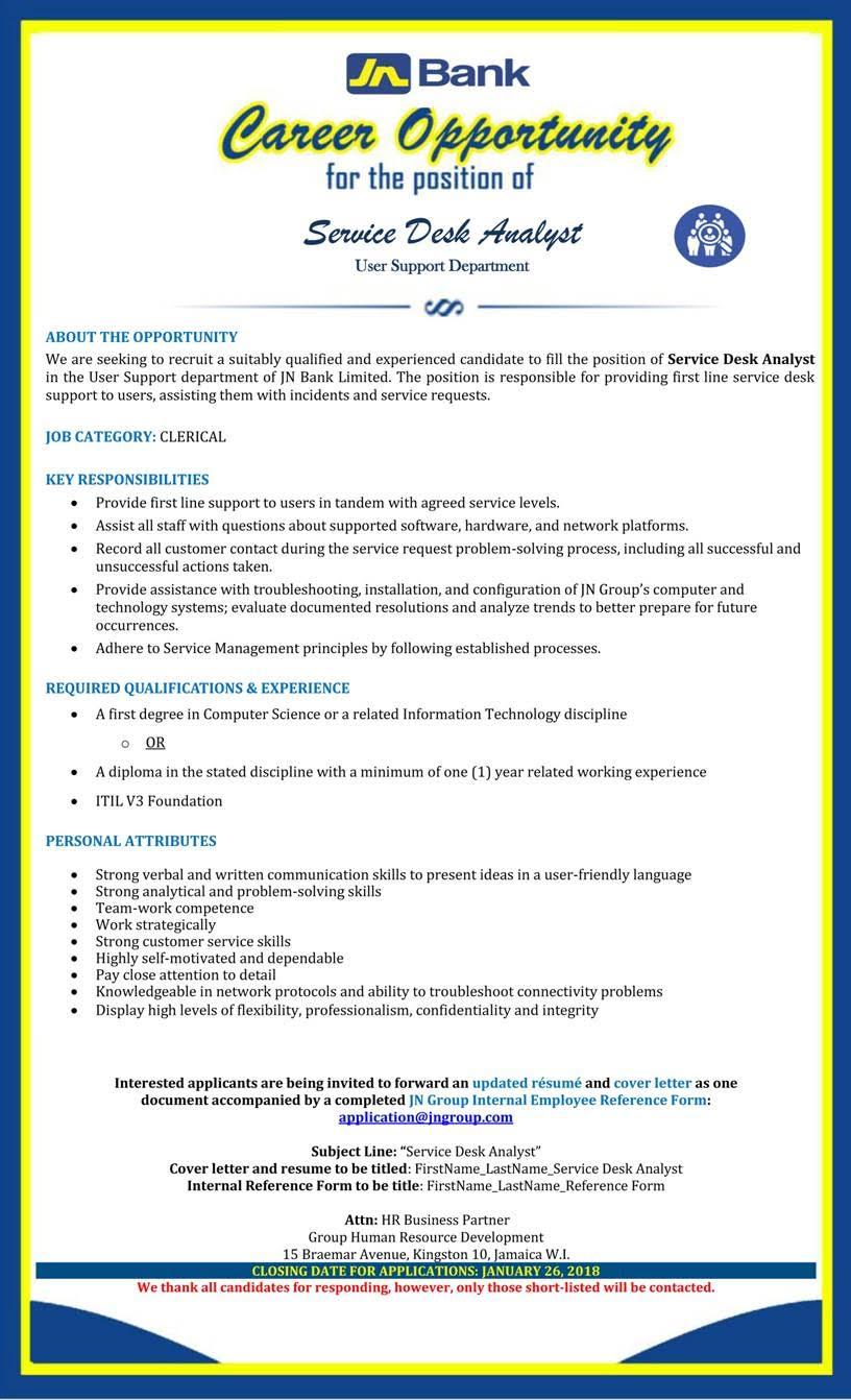 Vacancy: Service Desk Analyst, JNBank