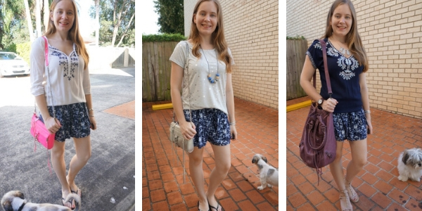 how to wear detailed embroidered tops with printed shorts 3 outfit ideas | awayfromblue