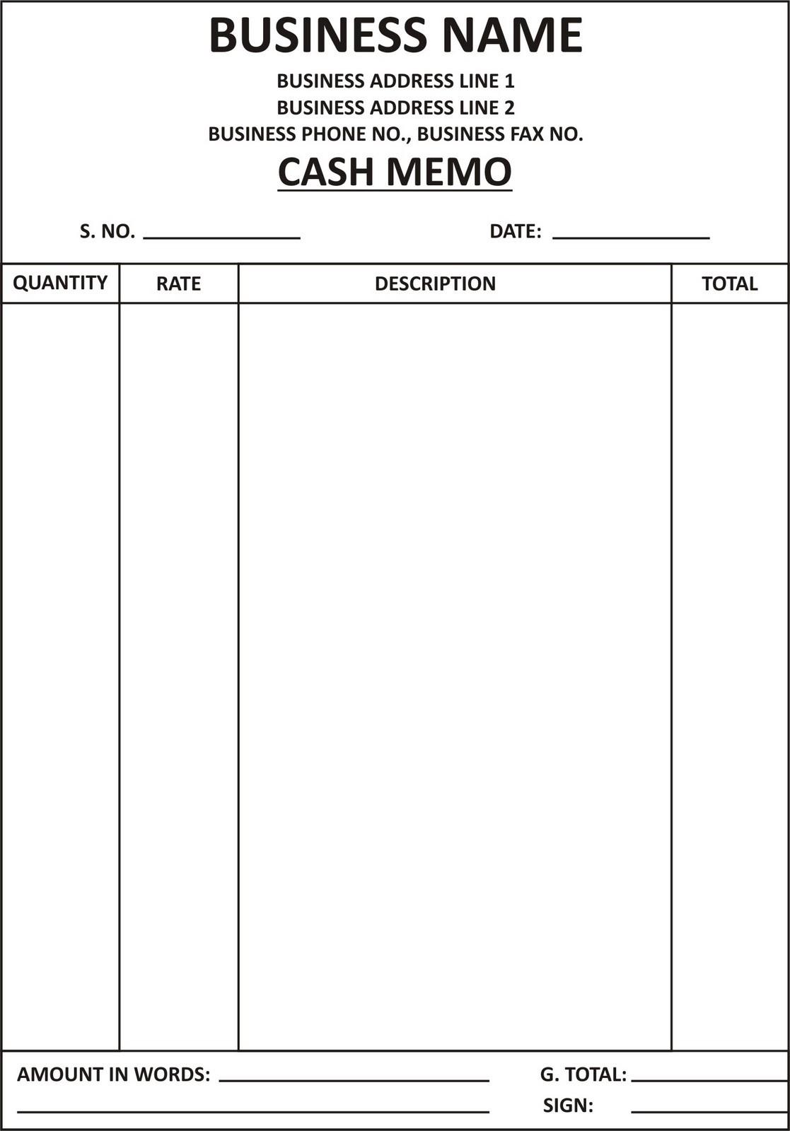 cash memo and invoise