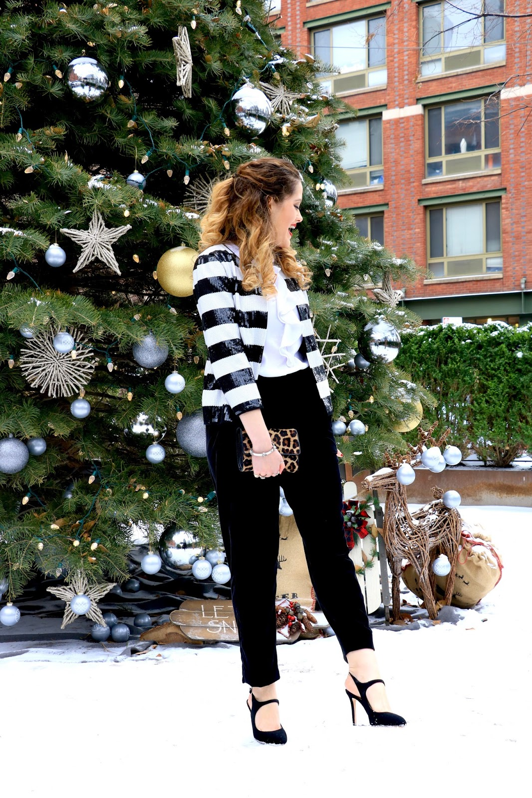Nyc fashion blogger Kathleen Harper showing how to wear a sequin blazer