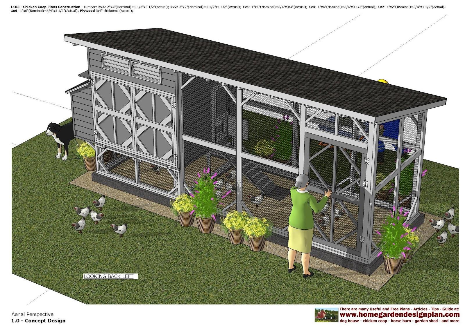 home garden plans: L103 - Chicken Coop Plans - Chicken ...
