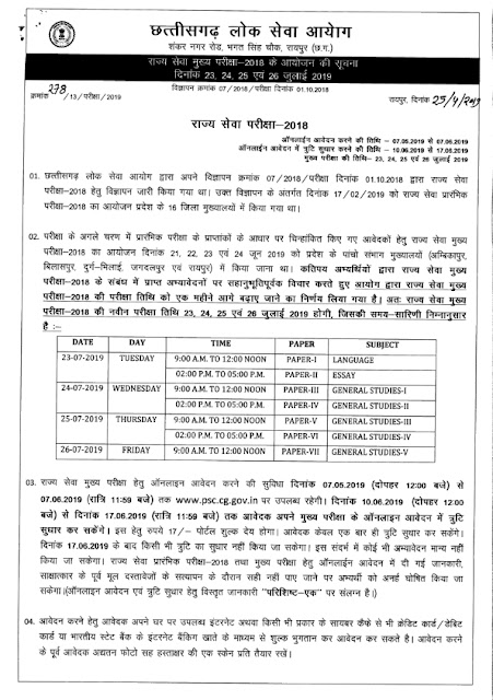 Recruitment of various posts in CGPSC