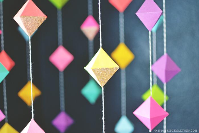 DIY Modern Geometric Rainbow Gem Baby Mobile via Triple Max Tons