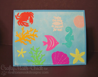 Emboss resist sea life card by Crafty Math Chick | Tranquil Tides by Newton's Nook Designs