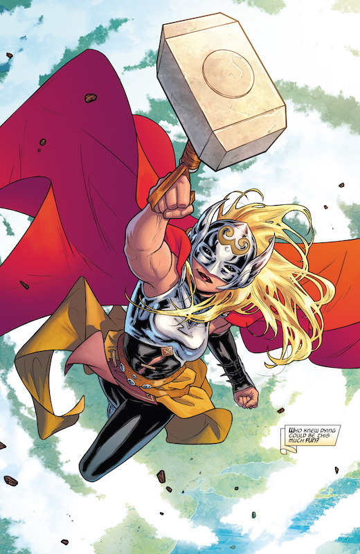 The Mighty Thor #1. Story: Jason Aaron Art: Russell Dauterman Colors: Matthew Wilson Letters: Joe Sabino Cover: Russell Dauterman, Matthew Wilson, Olivier Coipel, Mike Deodato, Sarah Jean Maefs, Judy Stephens. Thor created by Stan Lee, Larry Lieber, Jack Kirby.