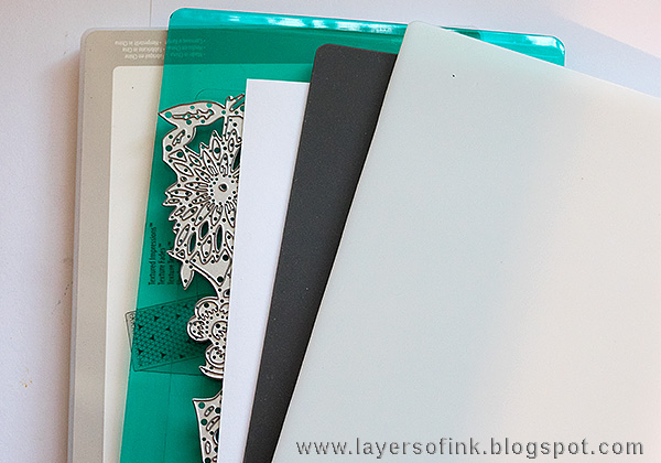 Layers of ink - Debossed Metallic Bird Tutorial by Anna-Karin with Sizzix Emboss and Transfer set.