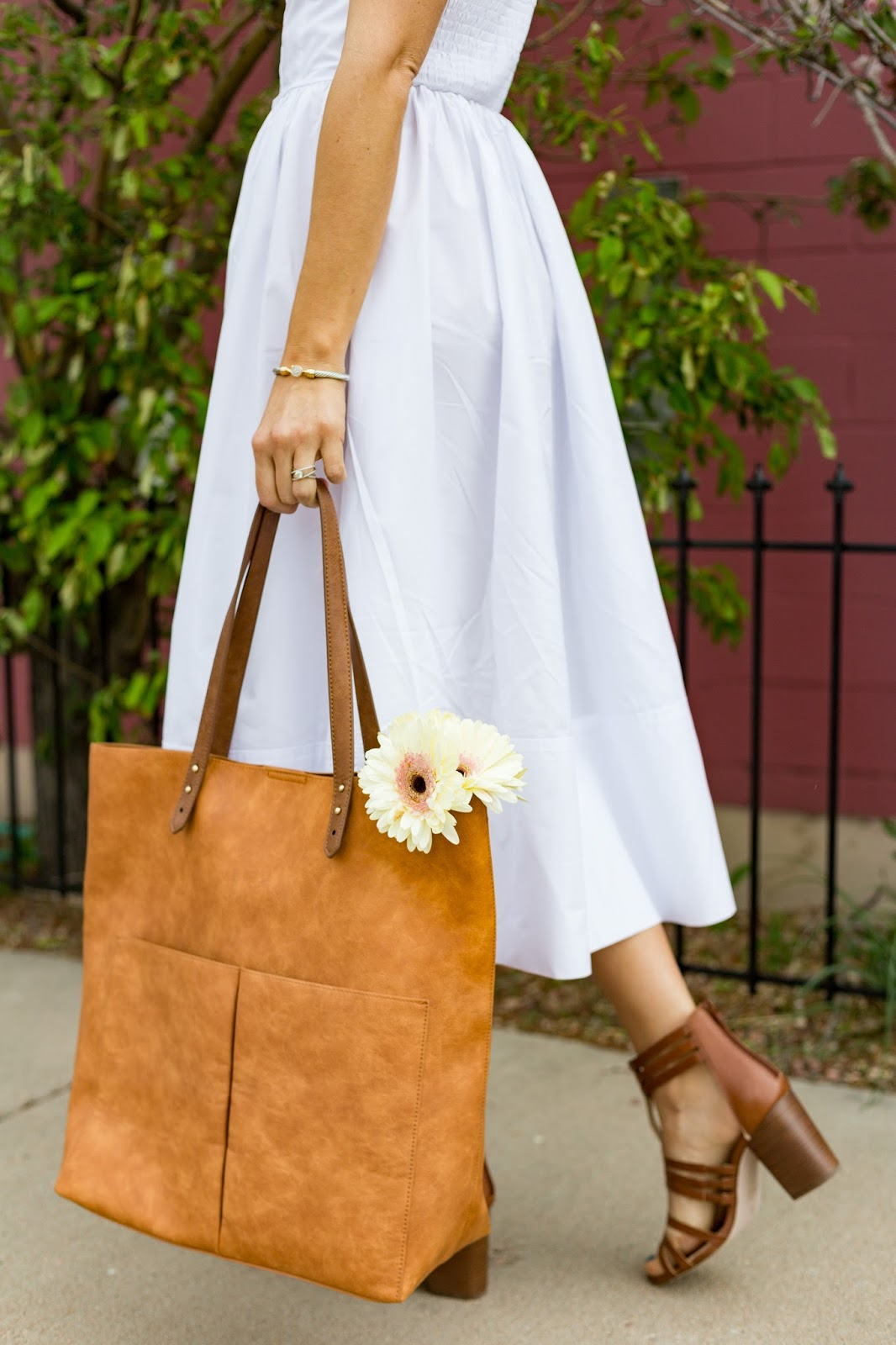 Caged Sandals With White Dress