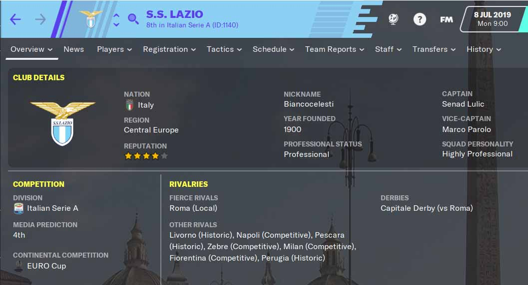 FM20 Team Guide - S.S. Lazio