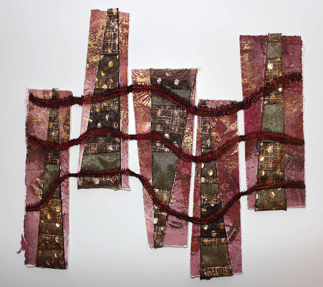 fused acrylic felt and organza with khadi cotton rag paper and free motion stitch