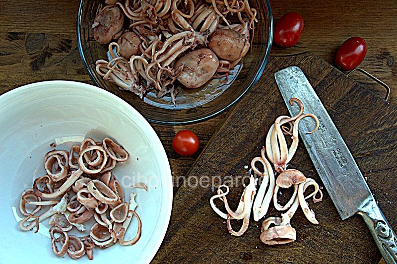 moscardini e fagioli  in insalata - procedimento