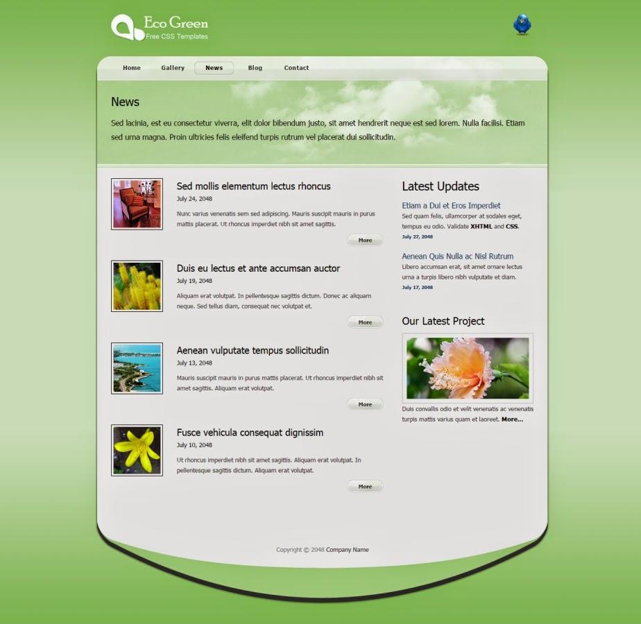 Green color website templates