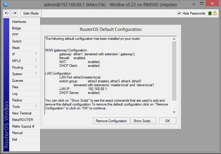 MikroTik RB450G with the settings and change the screen