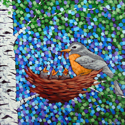 whimsical robin painting by artist aaron kloss, painting of a robin, painting of a bird nest, pointillism