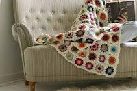 Manta de lã em crochê ou tricô