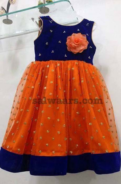 Orange Blue Kids Frock